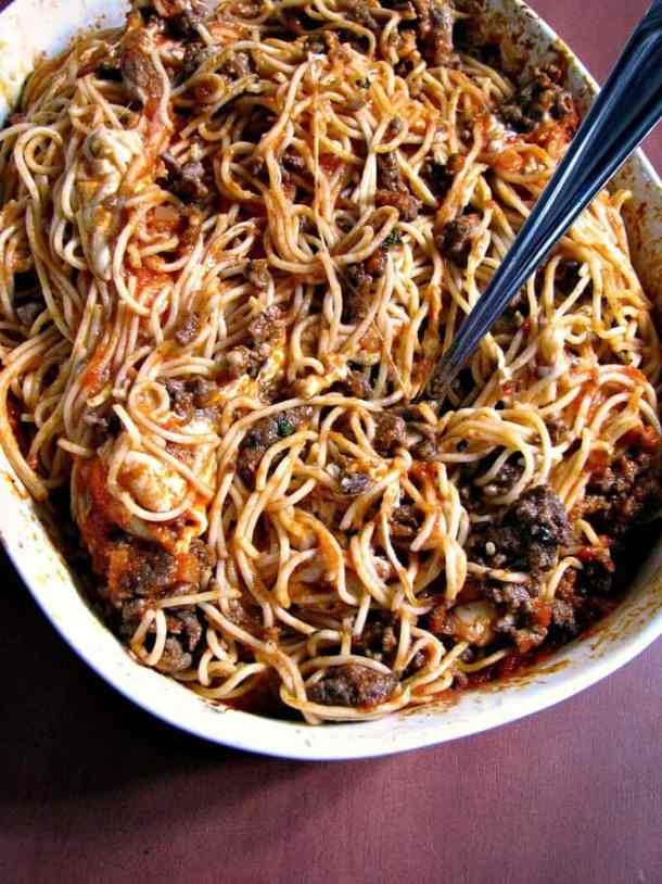Leftover Spaghetti Casserole -- Delicious ways to CHANGE up your Spaghetti Dinner Routine