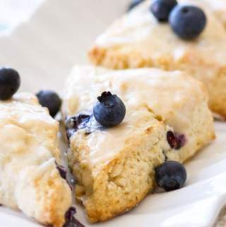 Blueberry Cream Cheese Scones with Vanilla Glaze