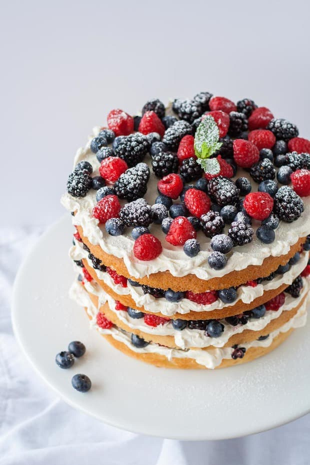 Summer berries are the best. Pretty and plentiful, it's hard not to make a berry dessert (or multiple) during the hot, sunny months. This berry layer cake is an impressive yet super easy dessert to make, I promise! All you need is a cake of some kind (from scratch or a box mix, vanilla or chocolate), frosting of your choice (a simple vanilla buttercream or cream cheese frosting, etc.), and fresh berries. Then all you have to do is stack, and your impressive summer dessert is done!