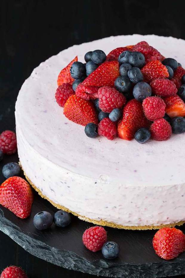 Easy Berries and Cream Sponge Cake makes the perfect celebratory dessert for summer. Best of all, it's easy to customize with your favorite berries. Made with layers of vanilla sponge cake, stabilized whipped cream, and fresh ripe strawberries, blueberries and blackberries.