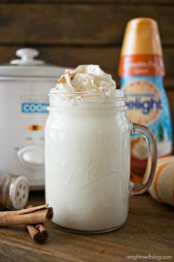 Crock Pot Pumpkin Spice White Hot Chocolate -- Part of Fun and Festive Christmas Desserts
