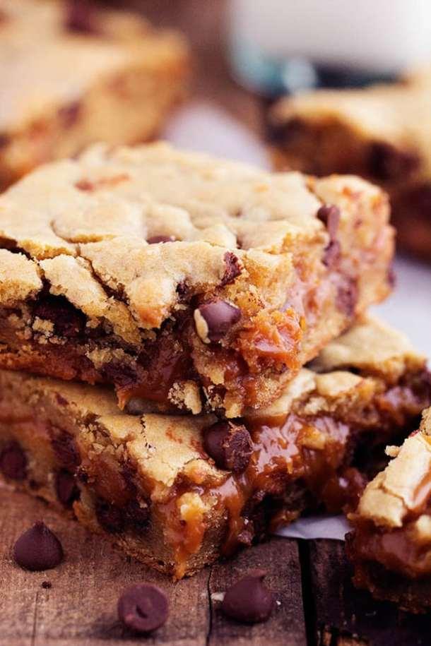 Peanut Butter Caramel Chocolate Chip Cookie Bars recipe