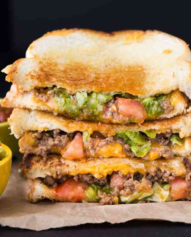 TACO GRILLED CHEESE--part of 21+ Grilled Cheese Sandwiches that your family will go CRAZY for!