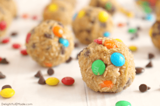 Monster Cookie Dough Bites-- Part of M&M Monster Dessert Recipes that your kids will love!