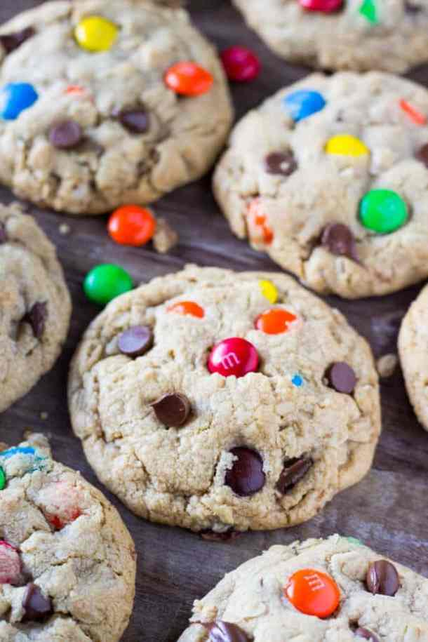 Soft and Chewy Monster Cookies-- Part of M&M Monster Dessert Recipes that your kids will love!