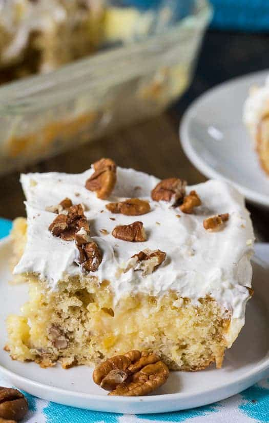 Hummingbird Cake, with its moist texture and flavoring from pecans, pineapple, and banana, is one of my favorite southern cakes. Usually I make a traditional-styleHummingbird Layer Cake with Cream Cheese Icing, but I was in the mood to make a poke cake, Hummingbird style.