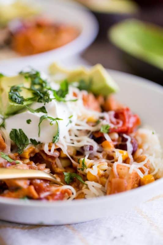 Chicken Taco Chili with Sour Cream and Cheese