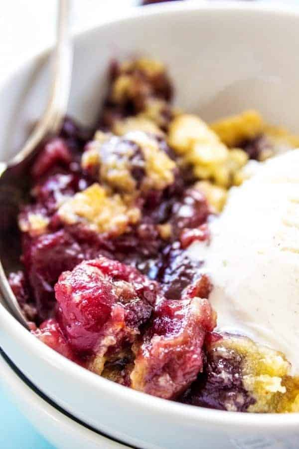 This CHERRY COBBLER RECIPE is the best ever. A deliciously simple way to enjoy fresh cherries without too much work.
