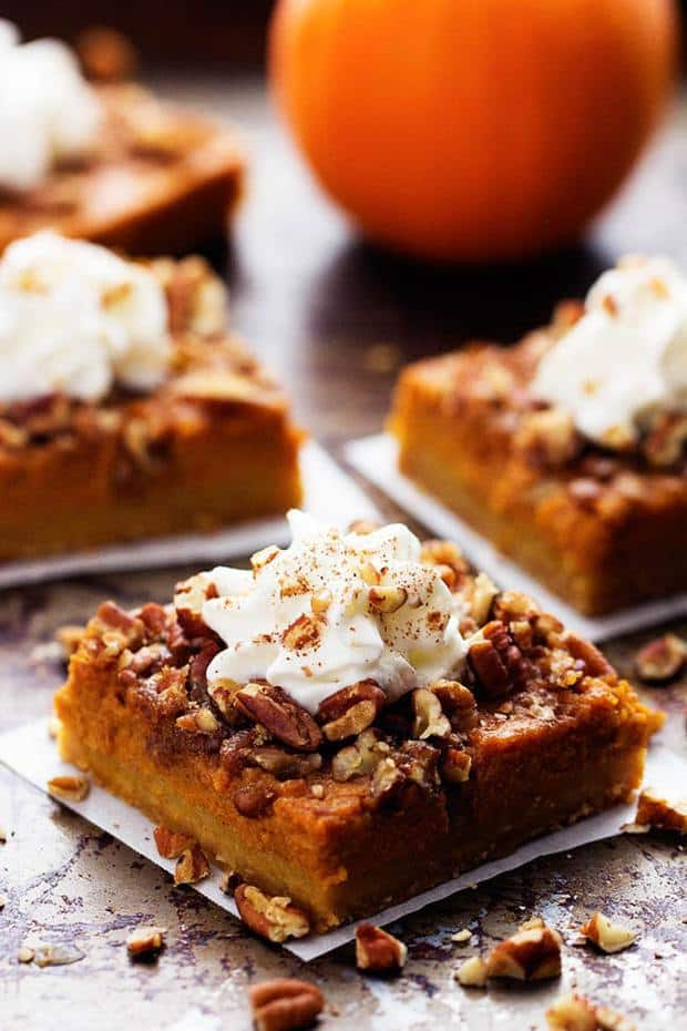 All of the goodness of pumpkin and pecan pie combine in these delicious dessert bars. They are baked on top of a buttery shortbread crust and make one fantastic dessert!