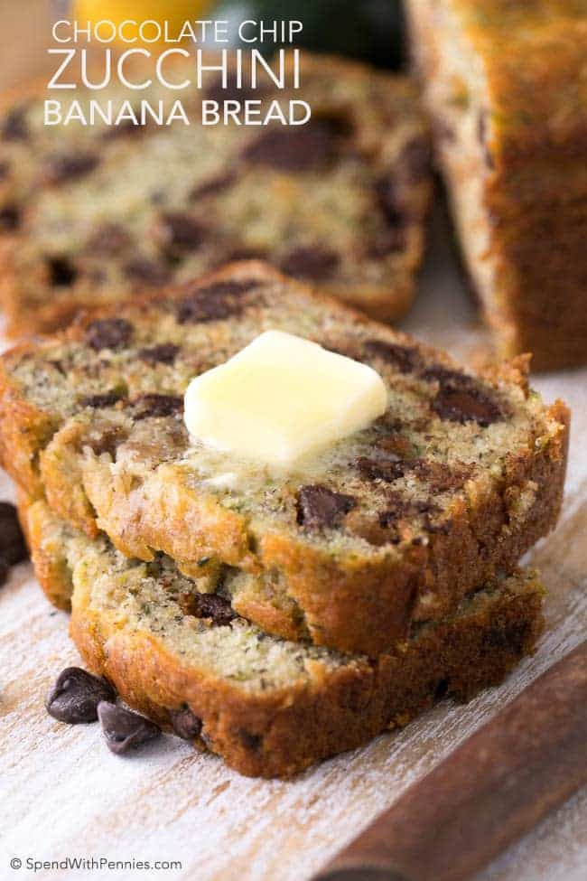 Chocolate Chip Zucchini Banana Bread combines the decadence of a sweet banana bread loaded with chocolate chips and the extra moistness of zucchini. If you've never added zucchini to your baking, you're in for a real treat! Zucchini makes baking so incredibly moist.