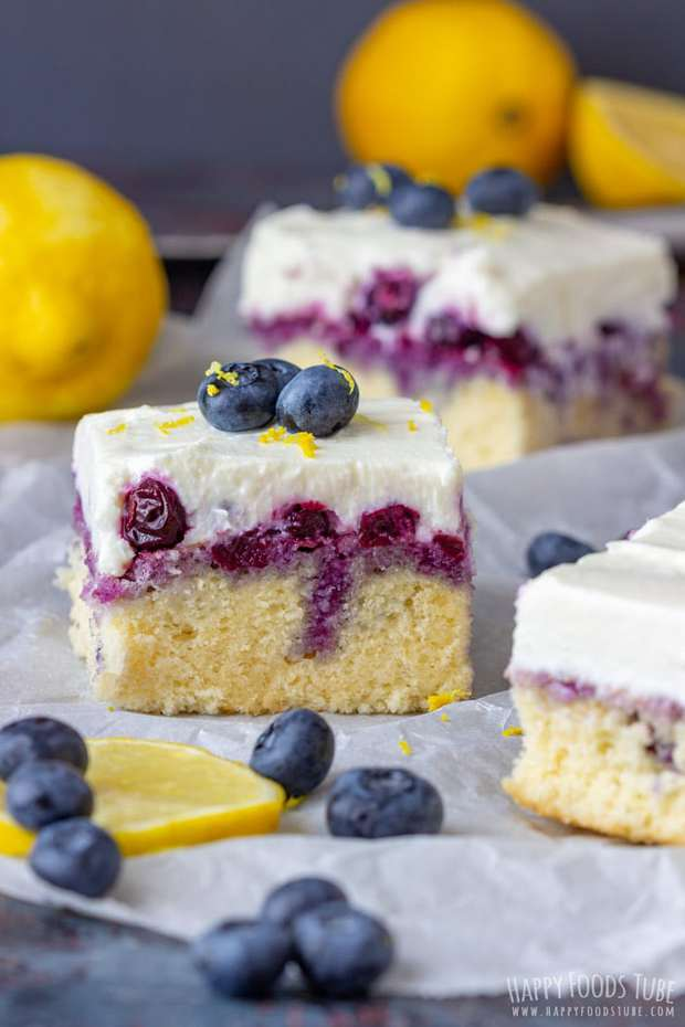 This is a recipe for Lemon Blueberry Poke cake from scratch. Moist and soft sponge, blueberry sauce and creamy ricotta frosting with a hint of lemon!