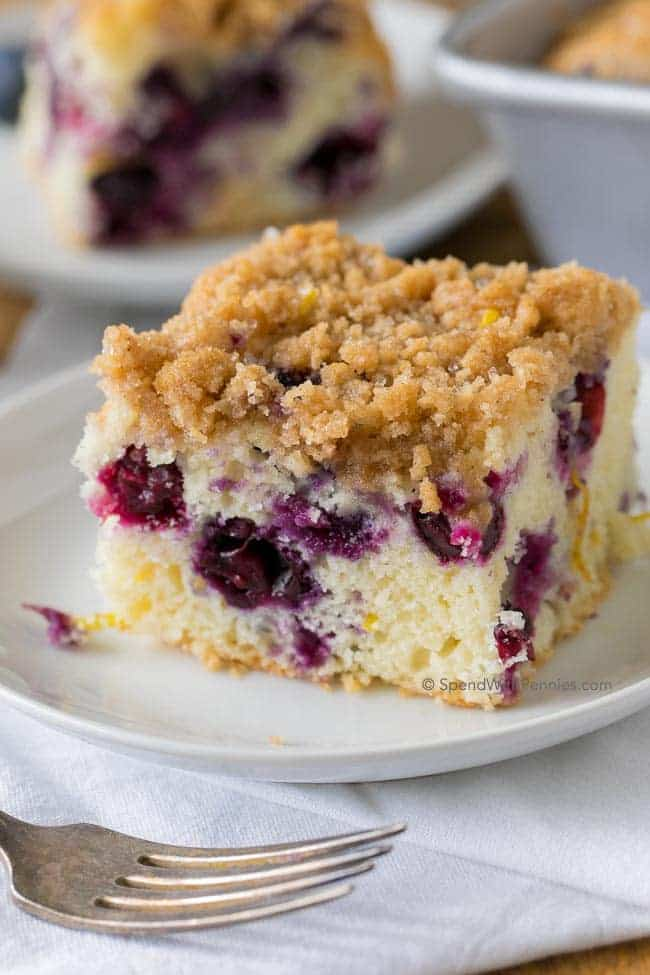 Blueberry Buckle is a deliciously tender lemon kissed cake studded with fresh blueberries and topped with a sweet butterystreusel topping. This old fashioned recipe is a favorite to serve with coffee, tea or for dessert.
