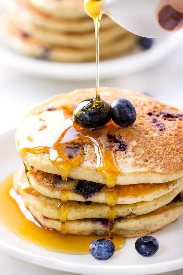 With the pancakes it's the ingredient that makes them the best pancakes I've ever tasted. They're ultra fluffy, but also moist and tender. They soak up the maple syrup, but don't fall apart when you cut into them with your fork.