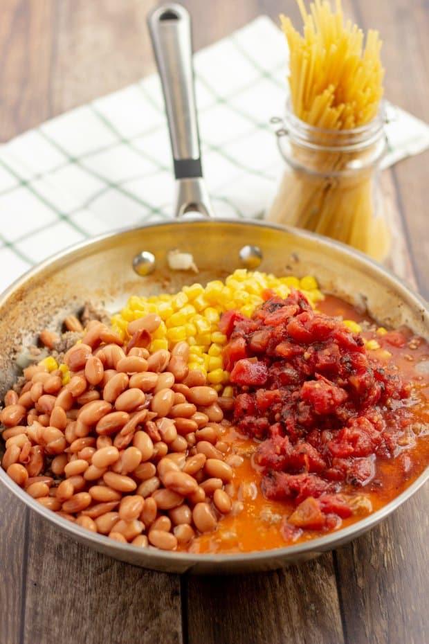 ingredients in frying pan