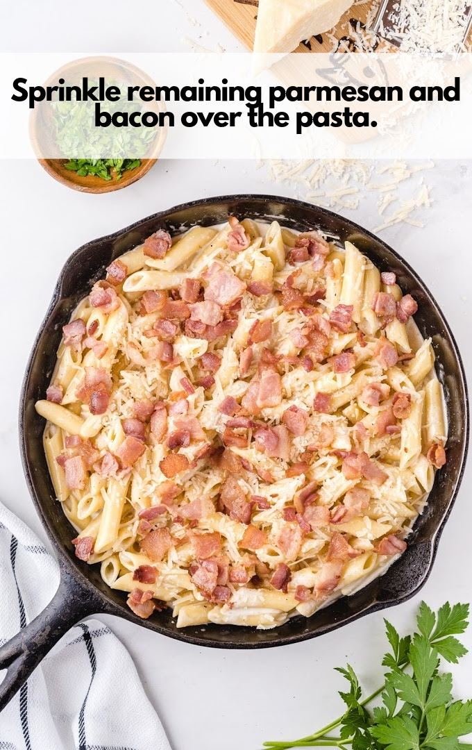 parmesan and bacon sprinkle over pasta