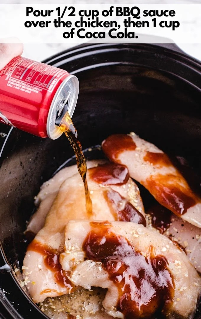 pour BBQ sauce over chicken then Coca Cola