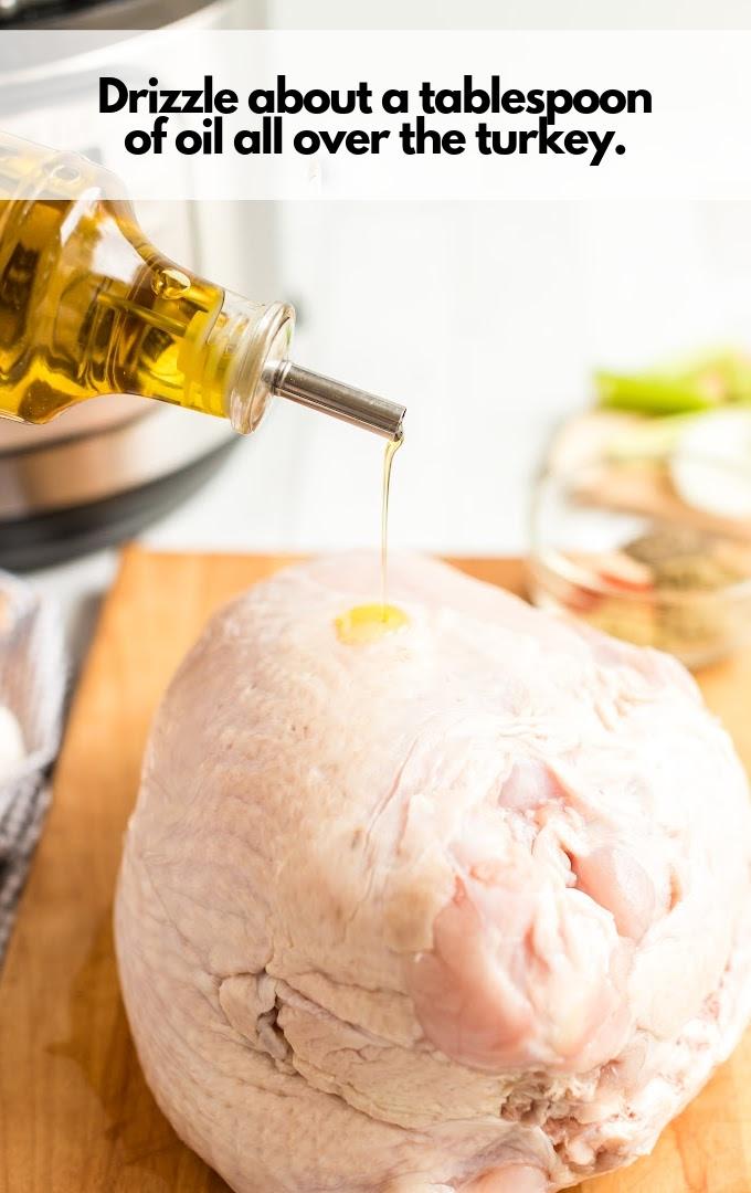 drizzle oil over turkey breast