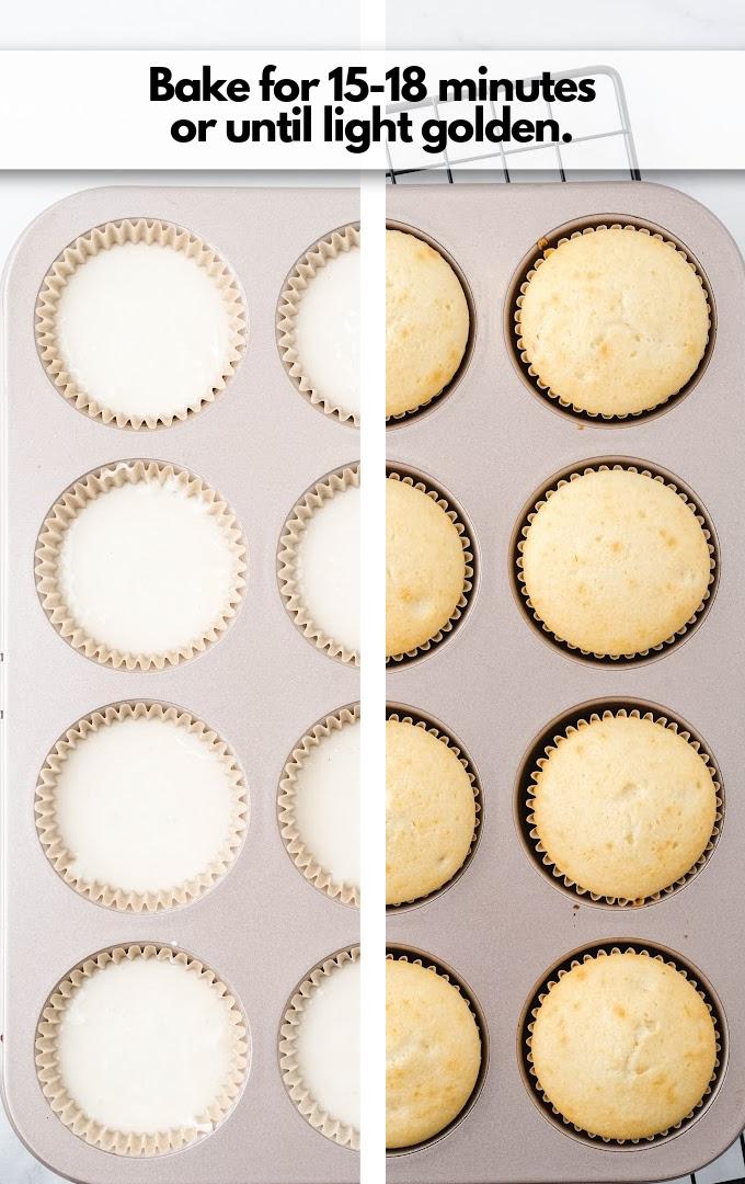 bake cupcakes until golden