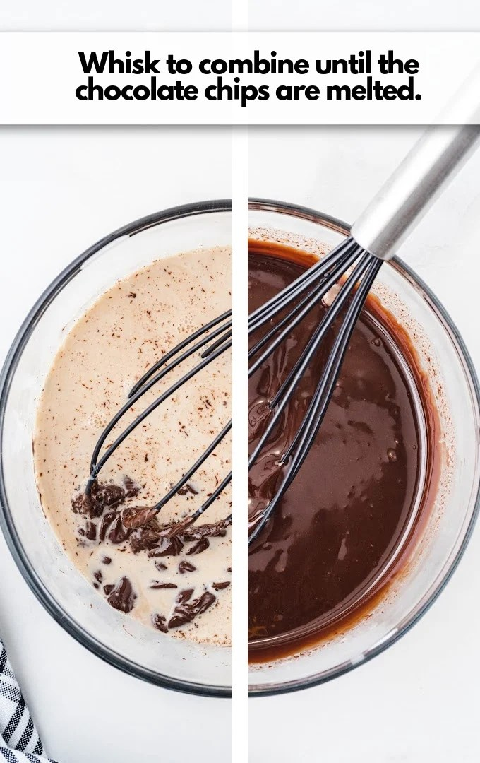 whisk chocolate and cream until melted