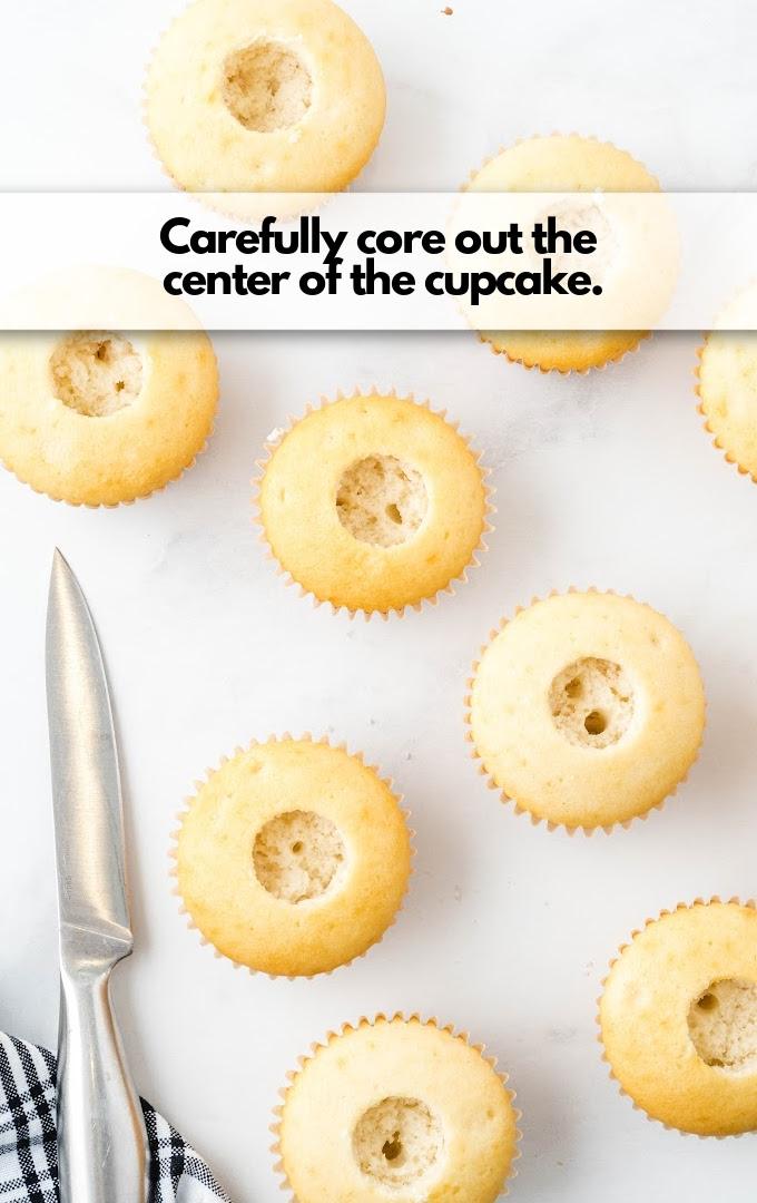 cut core of cupcakes
