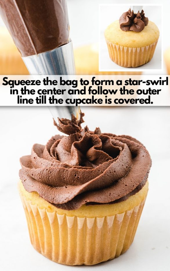 decor cupcakes with star swirl tip