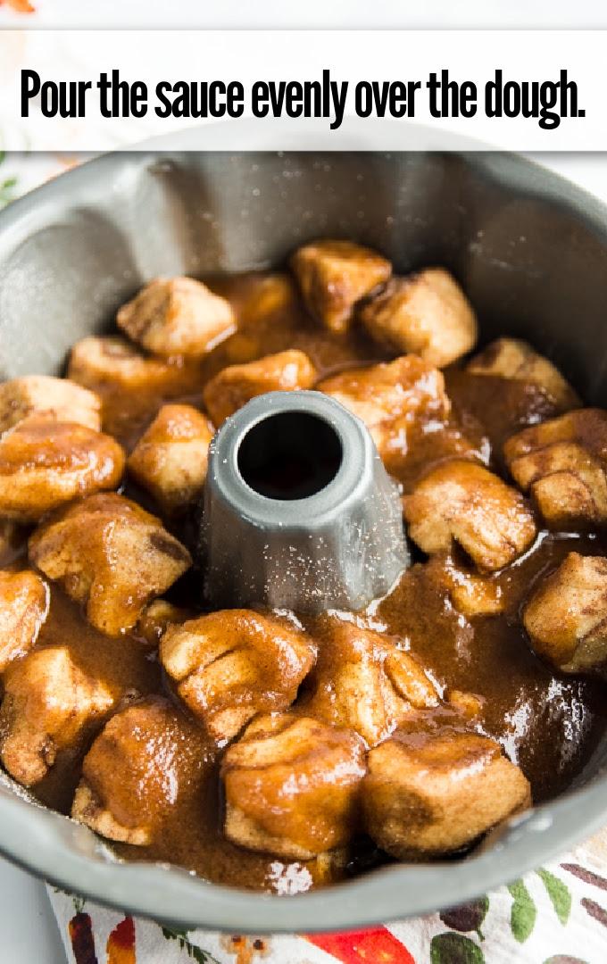 pour sauce over cinnamon roll pieces