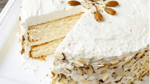 White Almond Wedding Cake.Almond Cream Cake