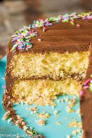 Homemade yellow layer cake with chocolate buttercream frosting