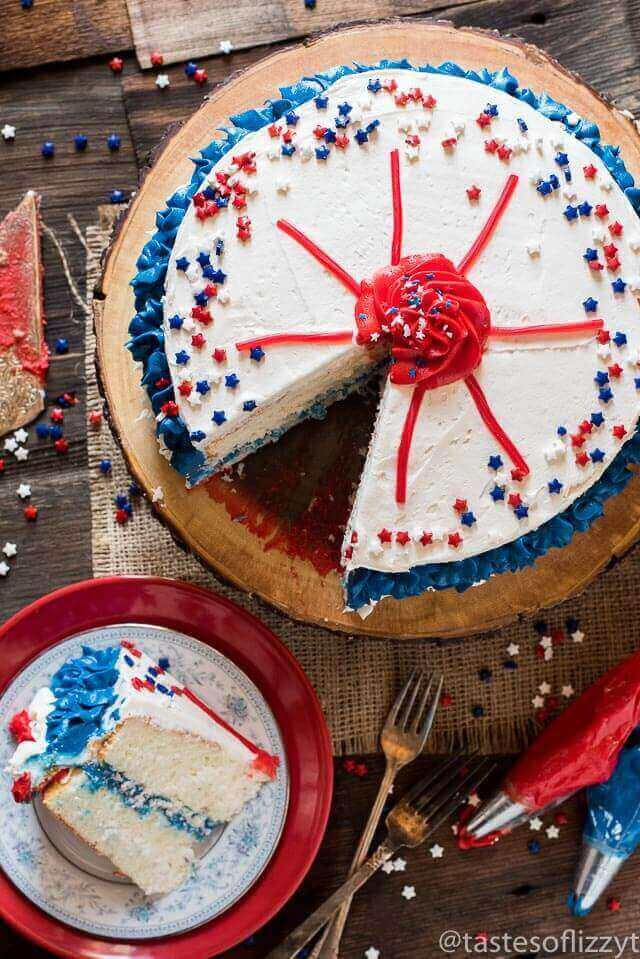 Get your kids involved in July 4th picnic prep with this Easy Patriotic Layer Cake. Decorated simply with Twizzlers and sprinkles for a cute, Independence Day dessert.