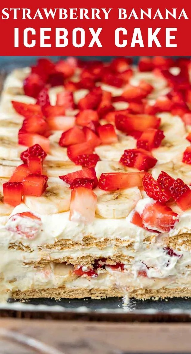 Strawberries, banana, graham crackers and pudding are a refreshing treat in this delicious Strawberry Banana Icebox Cake! Perfect for summer picnics. via @thebestcakerecipes