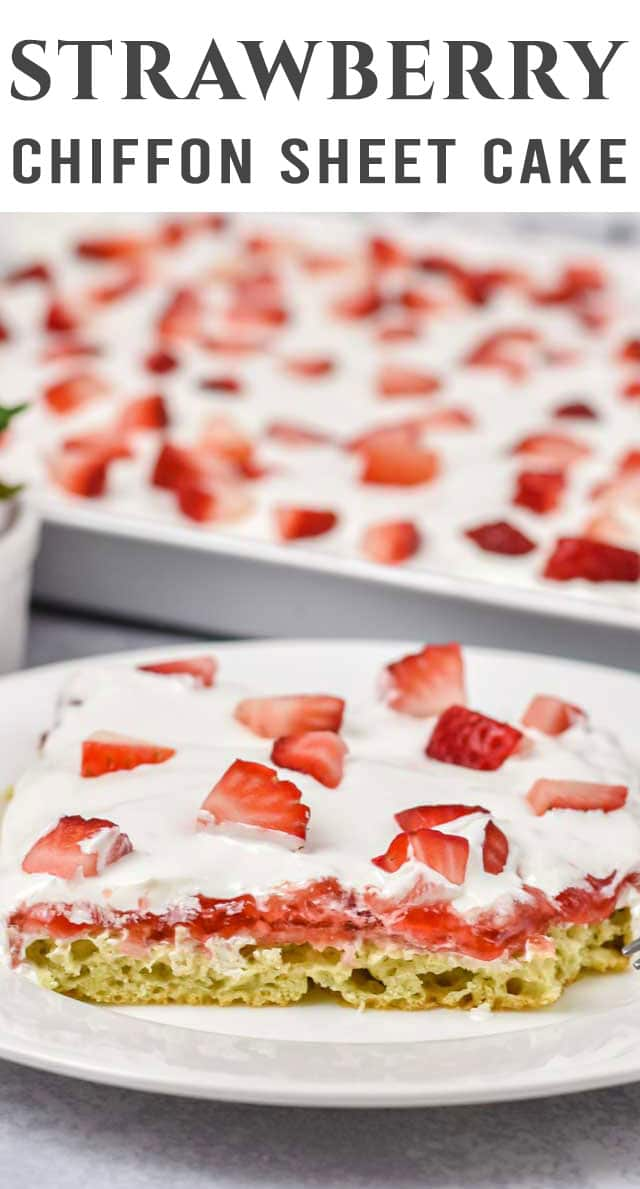 Don't let dessert weigh you down! This light and airy strawberry chiffon sheet cake is not only easy, but delicious. Perfect for summer potlucks. via @thebestcakerecipes