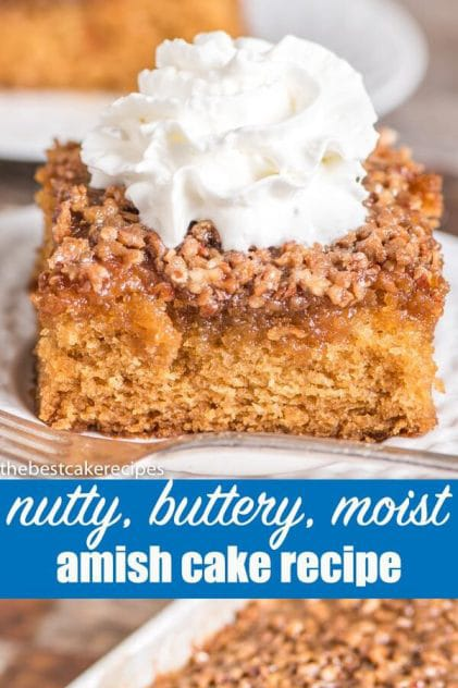 An easy, 1-bowl, 9x13 cake with that is extra moist. This Amish cake recipe has a butter, brown sugar & nut topping that bakes into the top of the cake.
