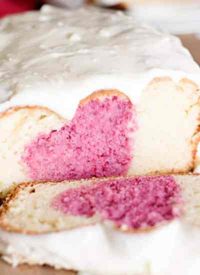 frosted valentine's day breakfast cake with a heart inside