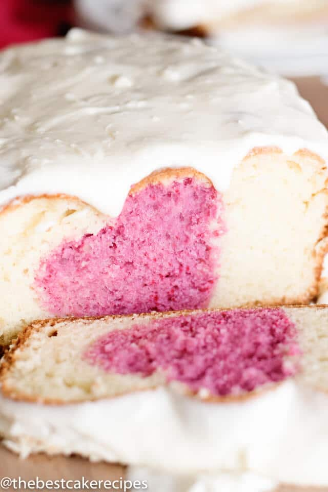 frosted valentine\'s day breakfast cake with a heart inside