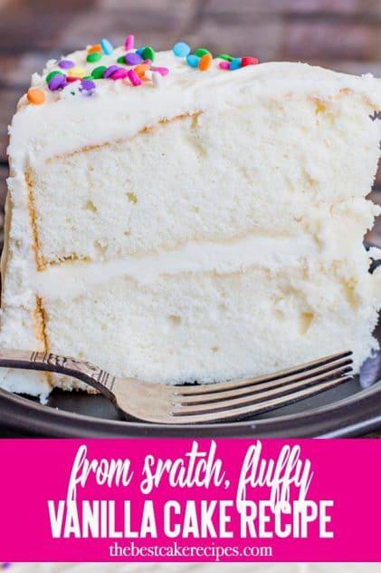 Looking for a vanilla cake recipe? This homemade white cake is kept fluffy by folding in whipped egg whites. It has a velvety texture and is great as a layer cake!