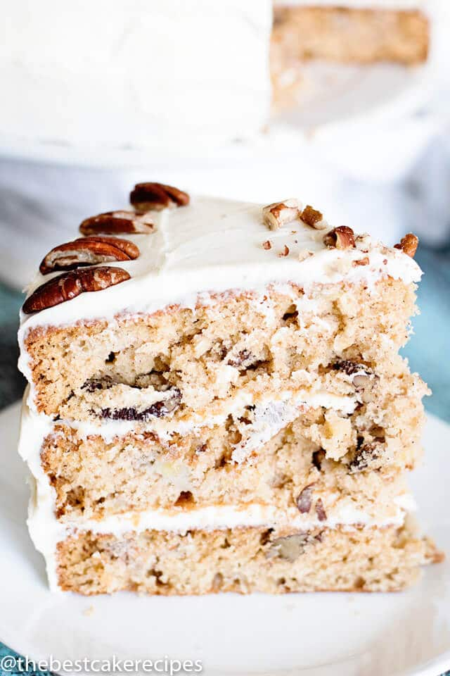 easy hummingbird cake slice on a plate