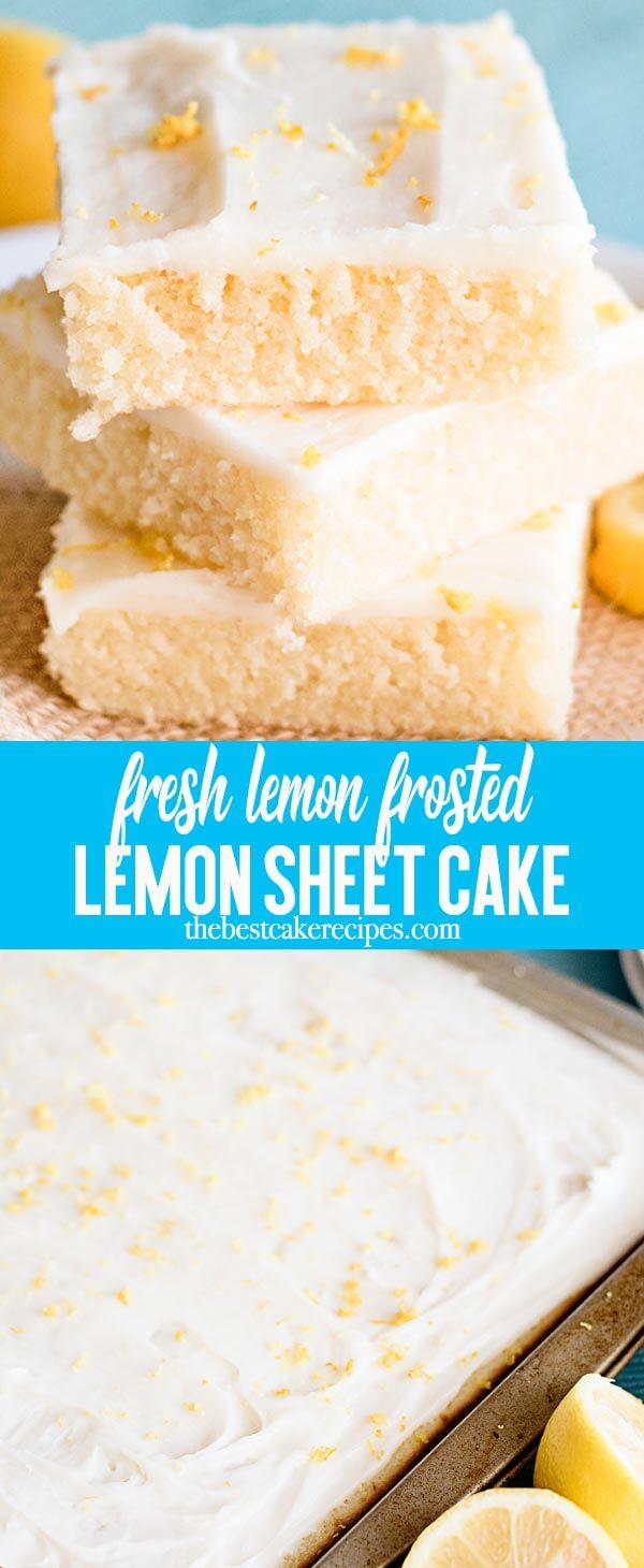 Buttermilk keeps this citrusy lemon sheet cake extra moist. Top with a light lemon glaze frosting for a refreshingly light dessert.