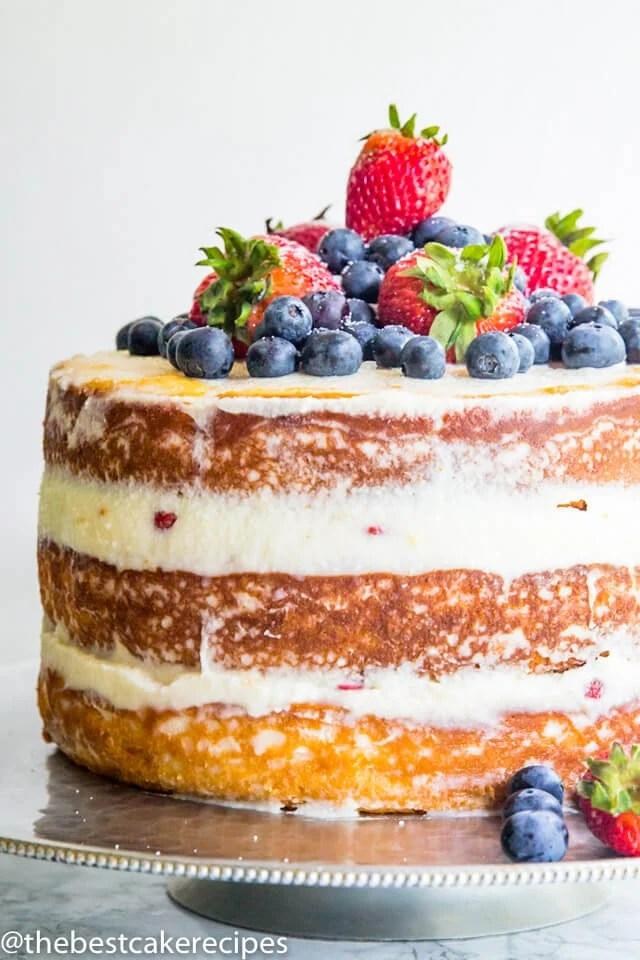 naked cake with mascarpone cream and fresh fruit