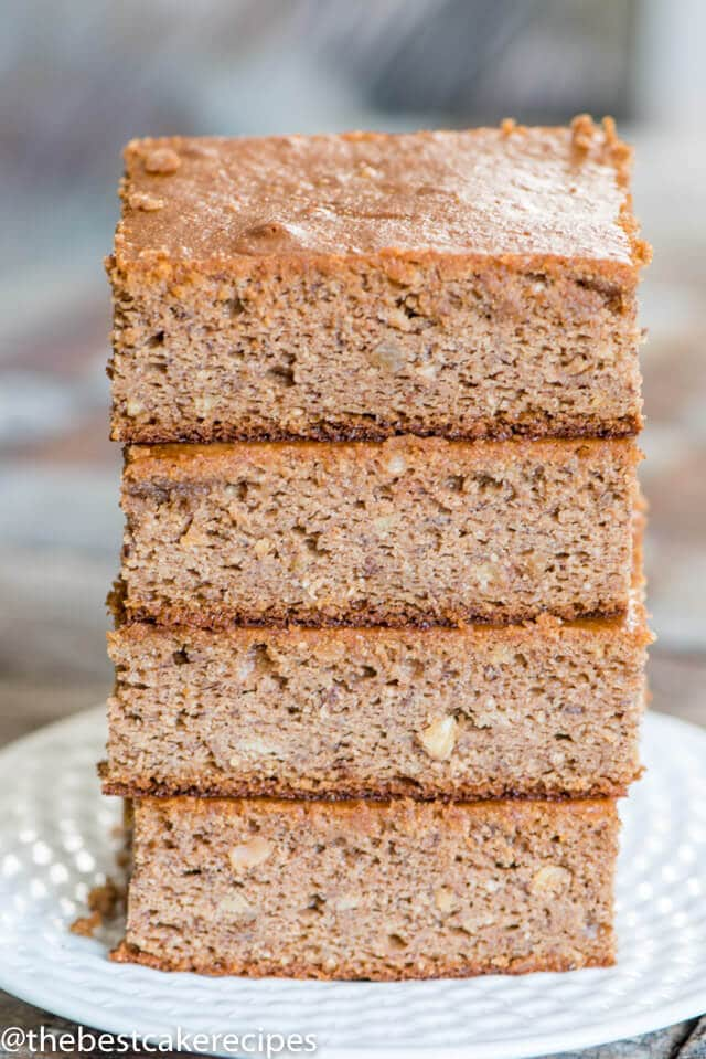 stack of healthy banana cake recipe with almond butter