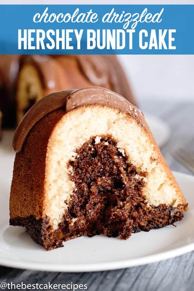 slice of chocolate hershey bundt cake on a plate