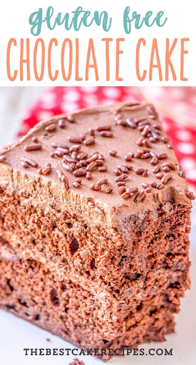 Easy chocolate cake made perfectly with gluten free flour! This gluten free chocolate cake makes a 9x13 cake or 2 layer cake. Great for birthdays or any day!
