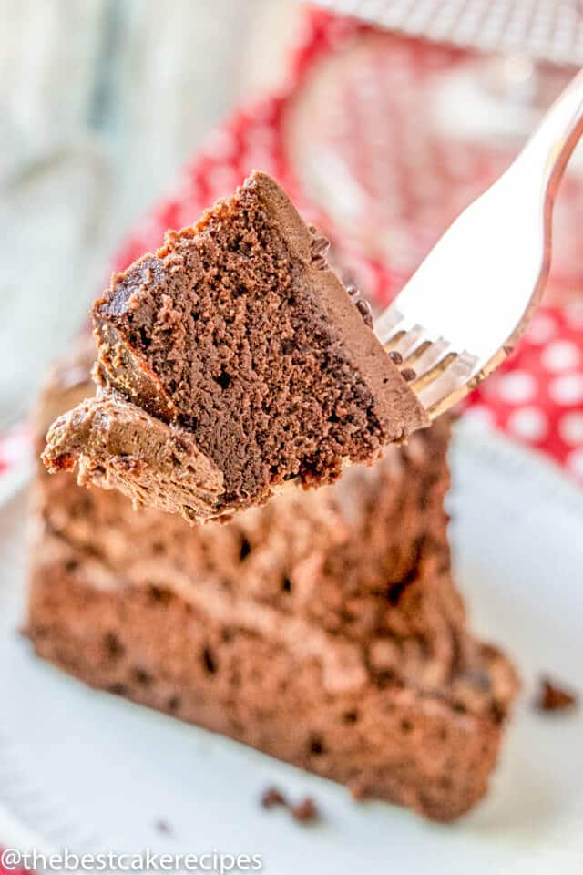 2 layer gluten free cake bite on a fork