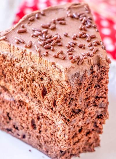 A close up of a piece of chocolate cake