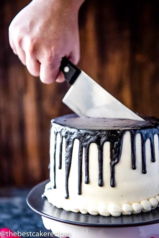 Bloody Halloween Cake Recipe Fun White And Black Drip
