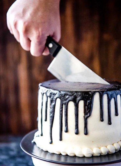 cake with knife in it