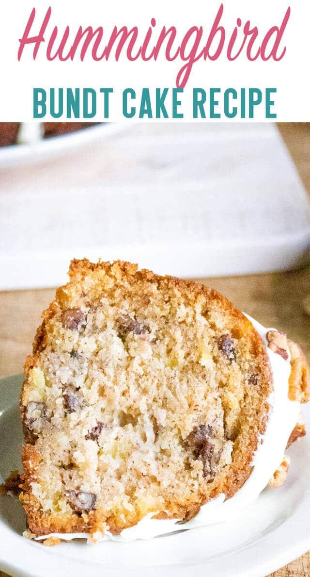 A piece of bundt cake on a plate, with glaze