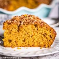 pumpkin coffee cake on a plate