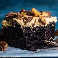 chocolate cake with peanut butter frosting with a fork
