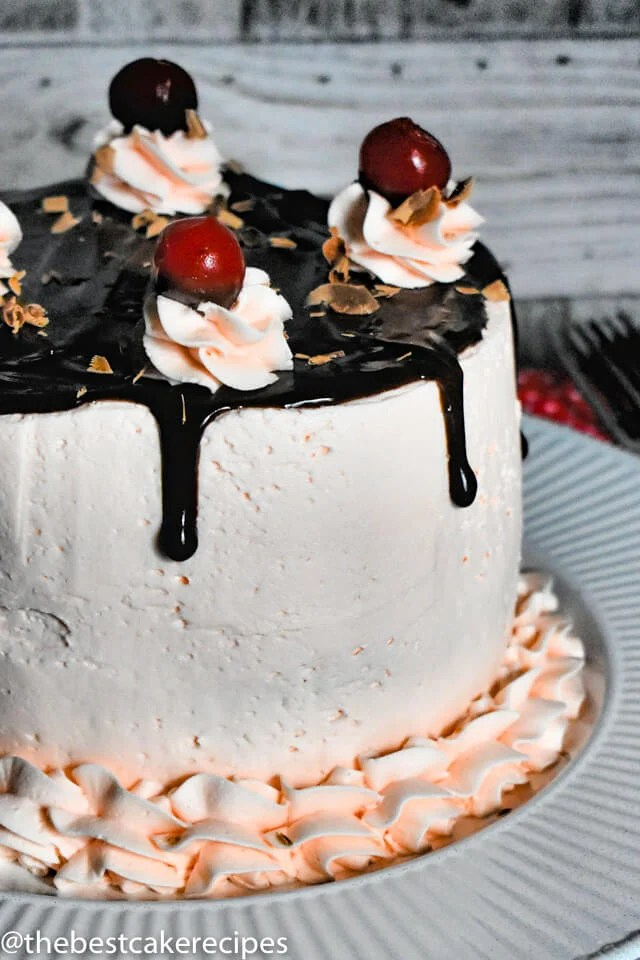 chocolate cake with cherry frosting