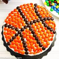 Basketball Cake Recipe with orange m&Ms